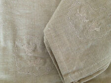 Set of 4 Beige Larry Bird Embroidered French Provincial  Cotton Napkins