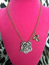 Betsey Johnson Vintage Dollhouse Doll House Pink Crystal Rose Necklace VERY RARE