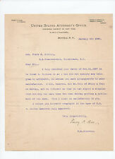 signed 1898 letter by United States District Attorney Emory P. Close, Buffalo Ny