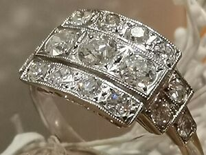 1920s style  Platinum 1.30ct natural old cut Diamond ring size 0 - (Beautiful) *