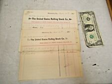 4 - 1886 & 1887 The United States Rolling Stock Co. & Ohio Valley Receipts - NR