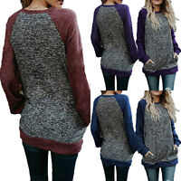 Womens Patchwork Long Sleeve Pullover Loose Blouse Jumper Autumn Casual Tee Tops