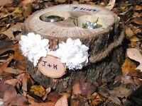 Rustic wedding RING bearer BOX - Candle Holder - Pillow alternative