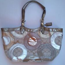 Coach Pieced Patchwork Carly Gold Metalic Tote Purse Handbag # F16180 Never Used