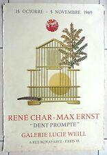 MAX ERNST RENE CHAR AFFICHE LITHO MOURLOT 1969 GALERIE LUCIE WEILL PARIS