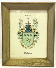 "Vtg MCMANNUS Family Crest Coat of Arms Framed 10"" x 12"" inches Irish"