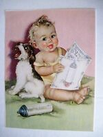 """Vintage Print by """"Charlotte Becker"""" of Baby,Terrier Puppy, Bottle & Song Book *"""