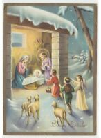 Christmas Vintage Card Religious Nativity Jesus Child Angel Holy Family