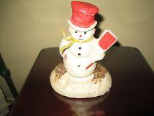 Nice Vintage Paper Mache' Snowman Christmas Table Décor ~ Candy Container!