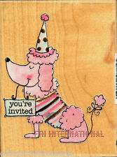Party Poodle Invitation ~ ANM Wood Mount Rubber Stamp #587J08, Dog, Birthday New