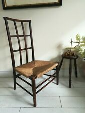 Arts & Crafts Folk Cotswold Oak Lattice back elbow original rush seat Very Rare