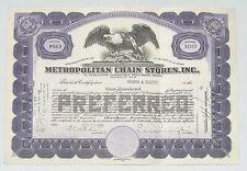 1930 METROPOLITAN CHAIN STORES, INC. Stock Certificate