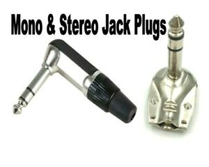 1/4 inch jack plugs. Right Angle. 6.3mm. Mono, Stereo, Metal or Plastic..