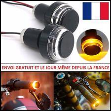 EMBOUTS DE GUIDON CLIGNOTANTS ALUMINIUM CNC LED MOTO VTT SCOOTER PAIRE UNIVERSEL