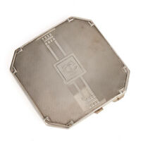 ART DECO SILVER POWDER COMPACT BY CHARLES S GREEN 1937