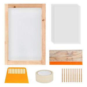 24pcs Screen Printing Starter Kit Wood Silk Screen Printing Frame With 110 M*wk