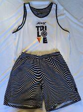 "Zoot Mens Bundle Tank Top & Shorts 7"" Triathlon Run Cycle Medium Black White"