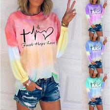 Women Crew Neck Long Sleeve Blouse Casual Tie-dye Print T Shirt Loose Tunic Tops