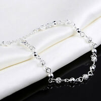 Women 925 Silver Plated Crystal Chain Bangle Cuff Charm Bracelet Jewelry
