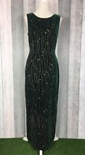 Exquisite Austin Reed Green Velvet Silk Blend Embroidered Maxi Dress Size UK 10