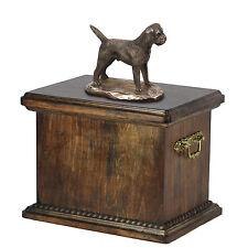 madera maciza Ataúd Border Terrier CONMEMORATIVO Urna para de perro cenizas, con