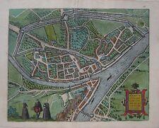 Original 1595 Braun & Hogenberg Birds-Eye-View Map NAMUR Belgium Meuse River