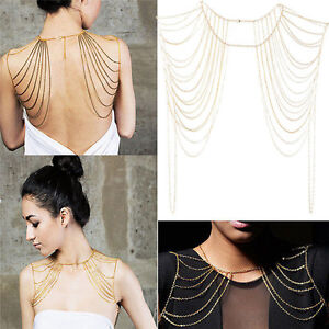 Fashion Sexy Body .men Jewelry Tassels Link Body Shoulder Chain Necklace H_PX