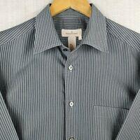 ERMENEGILDO ZEGNA ITALY Large 16-33 Mens Button Down Front Shirt Black Striped