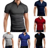 hot Men Fashion Slim Fit T-shirts Contrast Poloshirt Short Sleeve Tee Tops