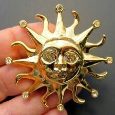 Kenneth J Lane Sun Face Sunshine Rhinestone Crystals Gold Tone Pin Brooch KJL