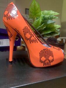 BNIB Ironfist Sugar Hiccup Peep Toe Platform Heels Sz US 9 Neon Coral Skulls