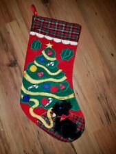 Vintage Christmas Stocking Red Scottie Dog Christmas Tree Holly Applique 18""