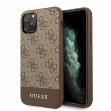 Genuine Guess 4G Stripe Collection Impact Case Cover for iPhone 11 Pro Max Brown