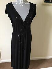 Ladies Long Black Sequin Party Dress 18