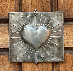 "Haitian Metal Heart, Sacred Heart, Metal Wall Decor, Religious Folk Art  9 x 9"""