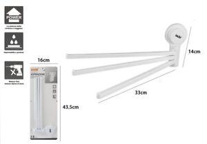 Porta Asciugamani A 3 Braccia A Ventosa Bianco Accessori Bagno dfh