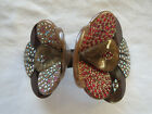 FRENCH HAIR CLIP BARRETTE BROWN W/ RHINESTONES hand made Shapely Paris FRANCE