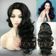 New In front of big wave long hair curling Black Wavy Synthetic Women's full Wig