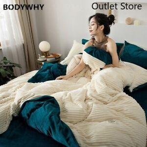 Warm Fleece Bedding Set Flannel Velvet Stripe Duvet Cover Contrast Flat Sheet