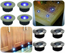 4 Solar Power Blue LED Stainless Steel Decking Deck Outdoor Garden Path Lights