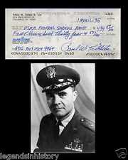 PAUL TIBBETS Autographed Signed Check Document WWII Enola Gay Atomic Bomb