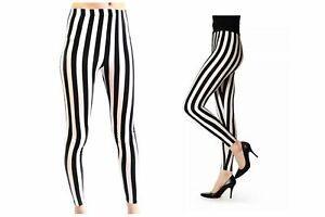 Ladies Womens Full Length Black And White Vertical Print Stripe Leggings