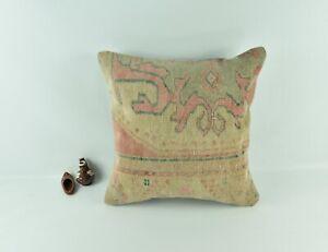Kilim Pillow Cover 20x20 Decorative Vintage Oushak Kilim Cushion Cover A2779