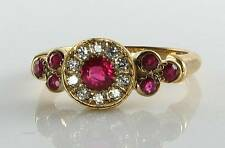 CLASS 9ct 9K YELLOW GOLD RUBY & DIAMOND ART DECO INS CLUSTER RING FREE RESIZE