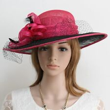 New Woman Church Derby Wedding Sinamay Dress Hat Red 266 Fuschia