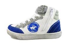 scarpe bambino BEVERLY HILLS POLO CLUB sneakers bianco tela blu camoscio DT509