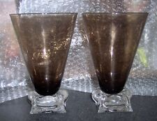 "2 Bryce Tempo ""Morocco"" Brown Ice Tea Goblets (Mid Century Style)"