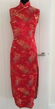 Vintage Red Chinese Party Sleeveless Dress Size M Uk 8 Brand New