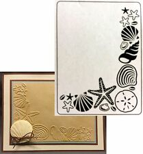 DARICE Embossing Folders SHELL CORNER folder 1219-134 beach Cuttlebug Compatible