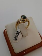 14K SOLID YELLOW GOLD LADIES RING PERIDOT & DIAMONDS